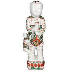 Chinese Porcelain Famille Verte Large Standing Boy, Early Qing, 17th Century
