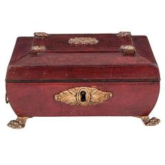 Antique Miniature Regency Red Leather Sewing Box