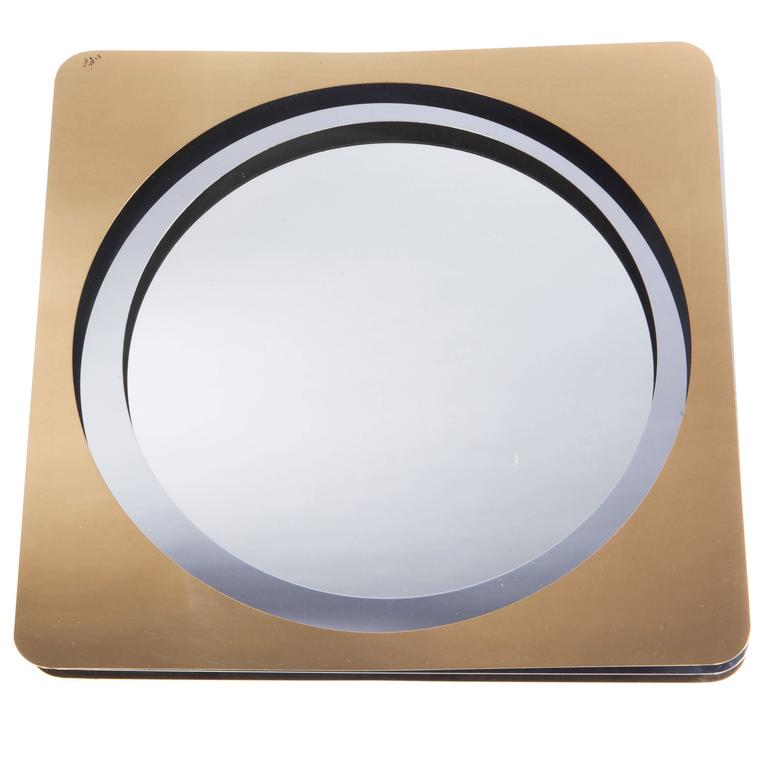 Double-Frame 1970s Mirror in Brass and Chrome by C. Jeré