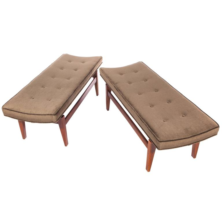 Jens Risom Pair of 1960s Cantilevered Walnut and Mohair Benches