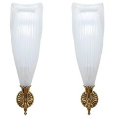 Exceptional French Neo Empire Petal Glass Sconces