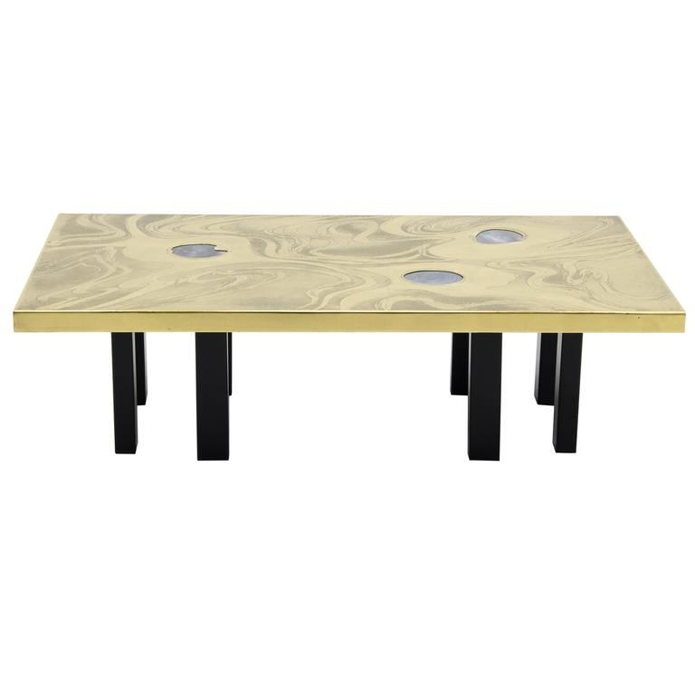 Etched Brass Coffee Table with Three Blue Agates For Sale