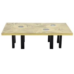 Etched Brass Coffee Table with Three Blue Agates