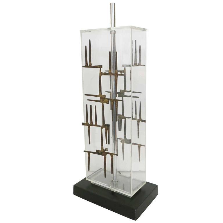 Brutalist Nail Sculptural Lucite Table Lamp by Laurel