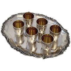 Devaux French All Sterling Silver 18k Gold Liquor Cups 6 pc w/Tray Rococo