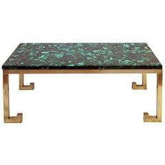 Good Quality Italian Brass Table with Malachite Top, Designed by Nucci Valsecchi