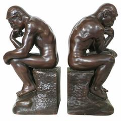 'The Thinker' Bookends Statues by Jennings Brothers