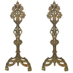 Egyptian Revival Art Deco Fireplace Andirons by Universal Electric Log Co