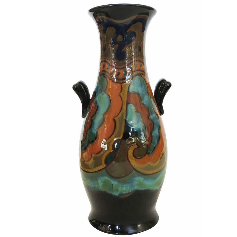 Gouda Art Nouveau Maar Pattern Pottery Vase Circa 1920 For Sale