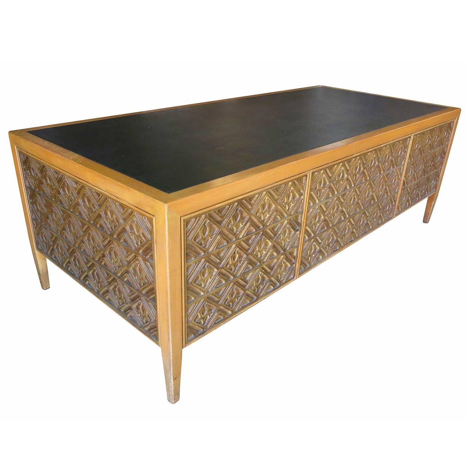 Paul Evans Style Brutalist Executive Desk And Credenza For At 1stdibs