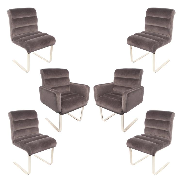 Set Of Six Brass Lugano Dining Chairs By Leon Rosen For Pace Collection