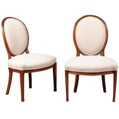 Pair of Louis XVI Period Balloon Back Side Chairs in Beechwood France circa 1780
