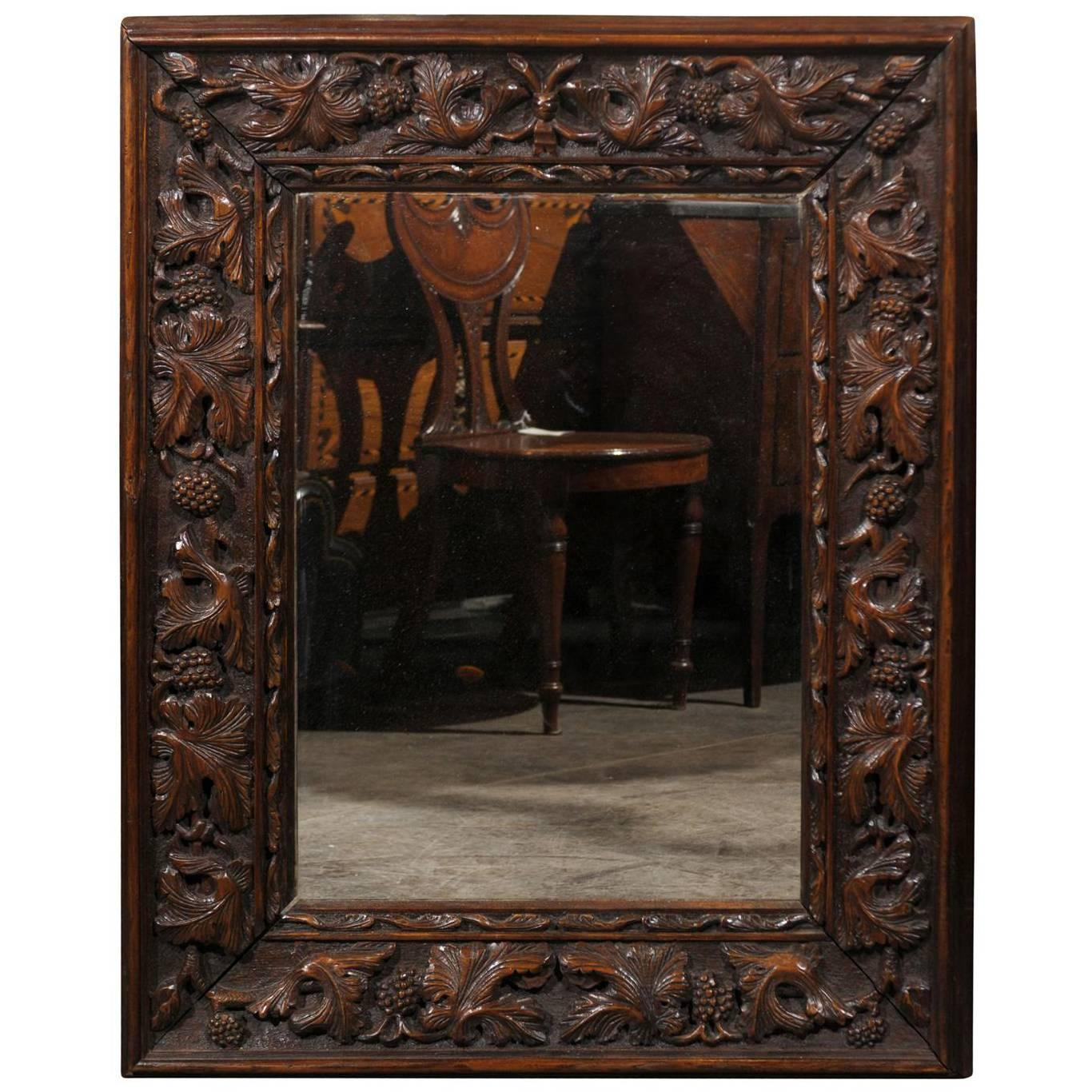 German wall mirrors 153 for sale at 1stdibs german black forest carved mirror with foliage motifs from the late 19th century amipublicfo Images