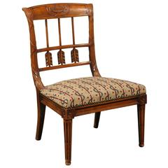 French Slipper Chair with Carved Back