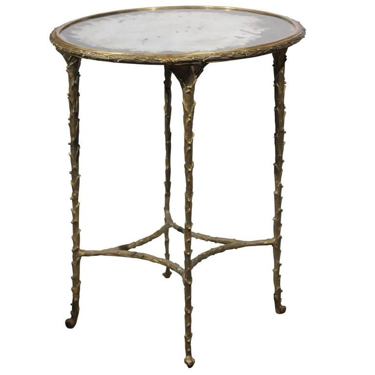 Round bronze and mirror table at 1stdibs for Table 52 oak brook
