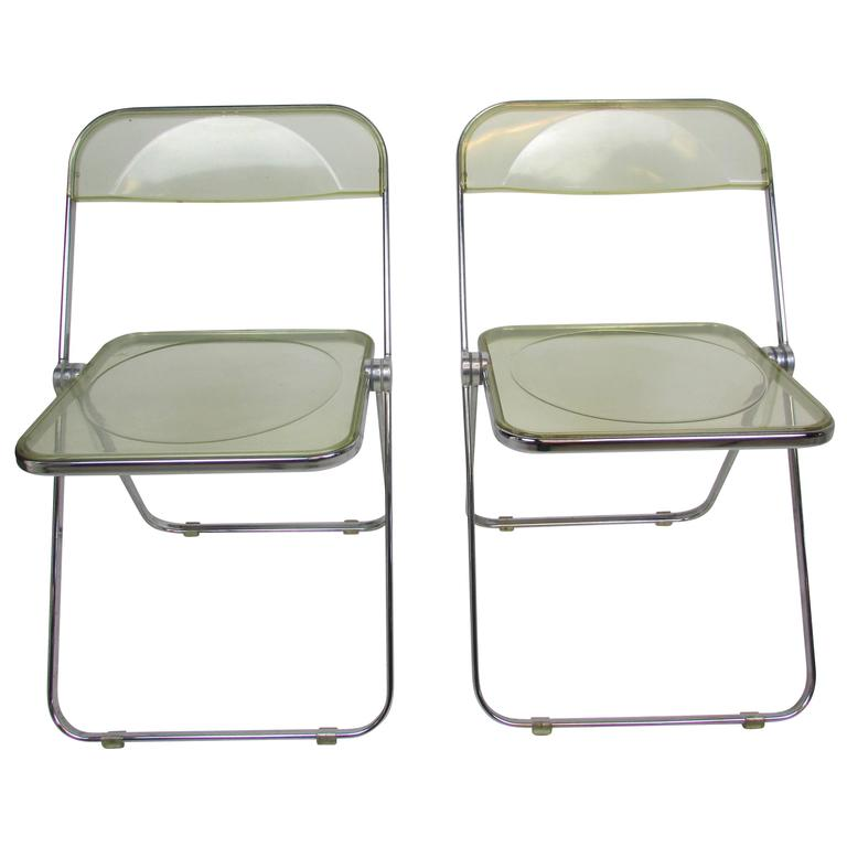Mid Century Lucite Acrylic 'Plia' Folding Chair at 1stdibs