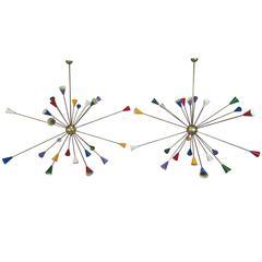 Vintage Twenty-Four-Arm Stilnovo Italian Sputnik Chandelier