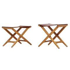 Uno & Östen Kristiansson Pair of Stools Produced by Luxus in Sweden