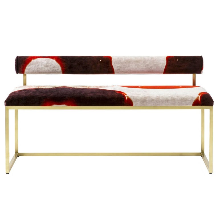 Awaiting T Bench Printed Velvet and Brass For Sale