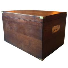 Antique Campaign Chest Trunk Solid Oak Victorian 19th Century Large