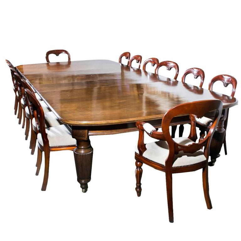 Antique Extending Dining Table 14 Chairs Circa 1880 For Sale