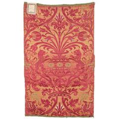 17th Century Italian Silk and Linen Brocade Sample