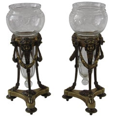 Louis XVI-Style Pair of Vases with Bronze Stands