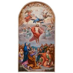 Exceptional Meissen Porcelain Plaque of 'The Ascension of Christ'