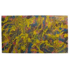 Large Abstract Painting, Acrylic on Wood Panel, 20th Century