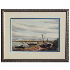 Watercolor of Beached Boats by Paul Sample