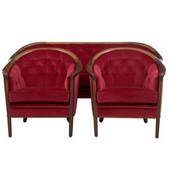 Red 1960s Danish Mahogany Horseshoe Three-Piece Suite by Andersson