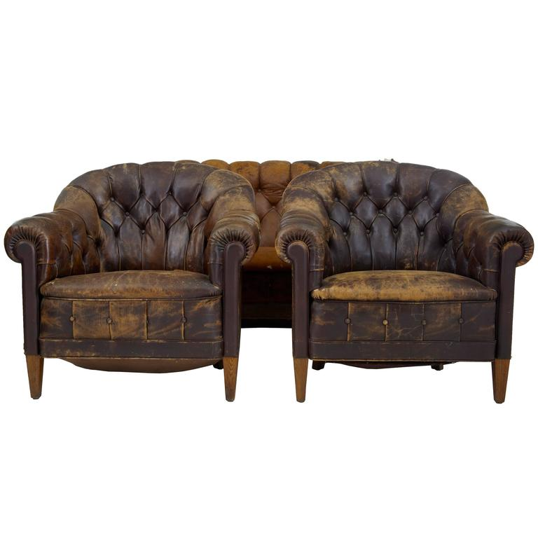 Early 20th century button back leather three piece suite for Furniture 3 piece suites
