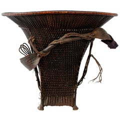 Large Woven Carrying Basket with Forehead Strap
