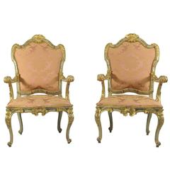 18th Century Four Armchairs With Floral Motifs