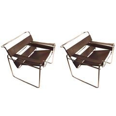 Pair of Vintage Breuer Wassily Chairs in Great Dark Brown Leather