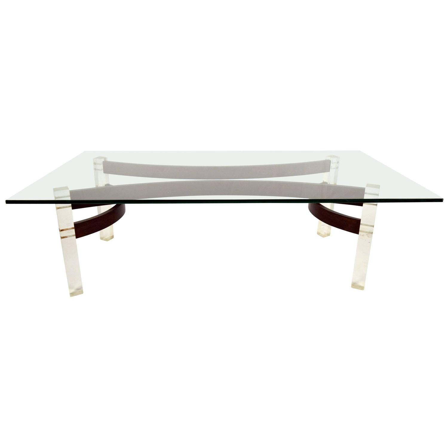 Mid-Century Glass Top Coffee Table With Lucite Legs For