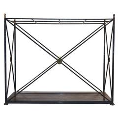 Oversized Neoclassic Iron Brass and Oak Cane Umbrella Stand