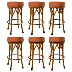 Set of Six Faux Bamboo Oak Swivel Bar, Counter Stools