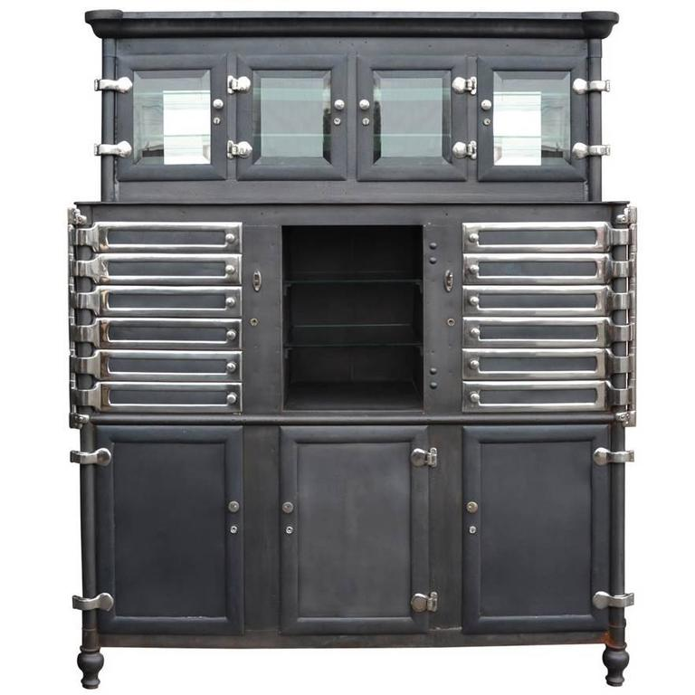 Large Chrome And Raw Steel Medical Cabinet, Circa 1920 1