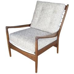 I B Kofod Larsen Lounge Chair Armchair for Selig, Stamped, Label