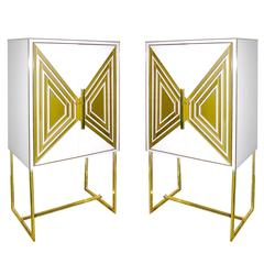 Contemporary Italian Pair of Modern Cream and Gold Glass Cabinets / Dry Bars