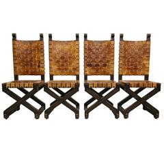 Set of Four Woven Leather and Wood Industrial Farmhouse Style Dining Chairs