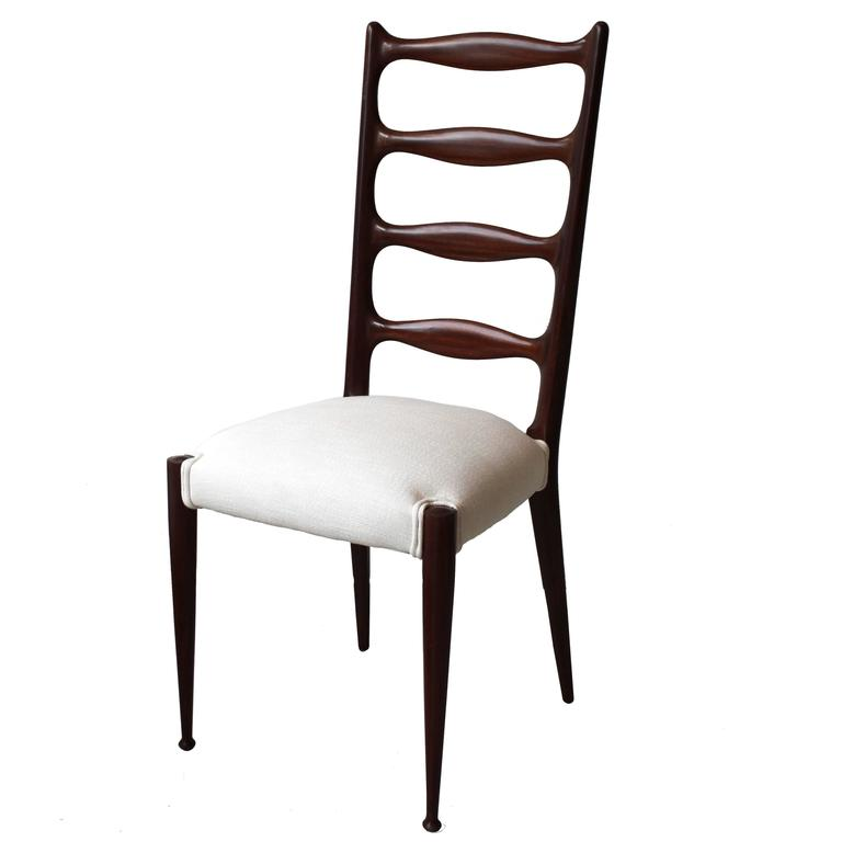 Set of six high back dining chairs by Paolo Buffa. Italian, 1950s
