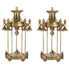 Pair of Large Brass Hanging Lanterns