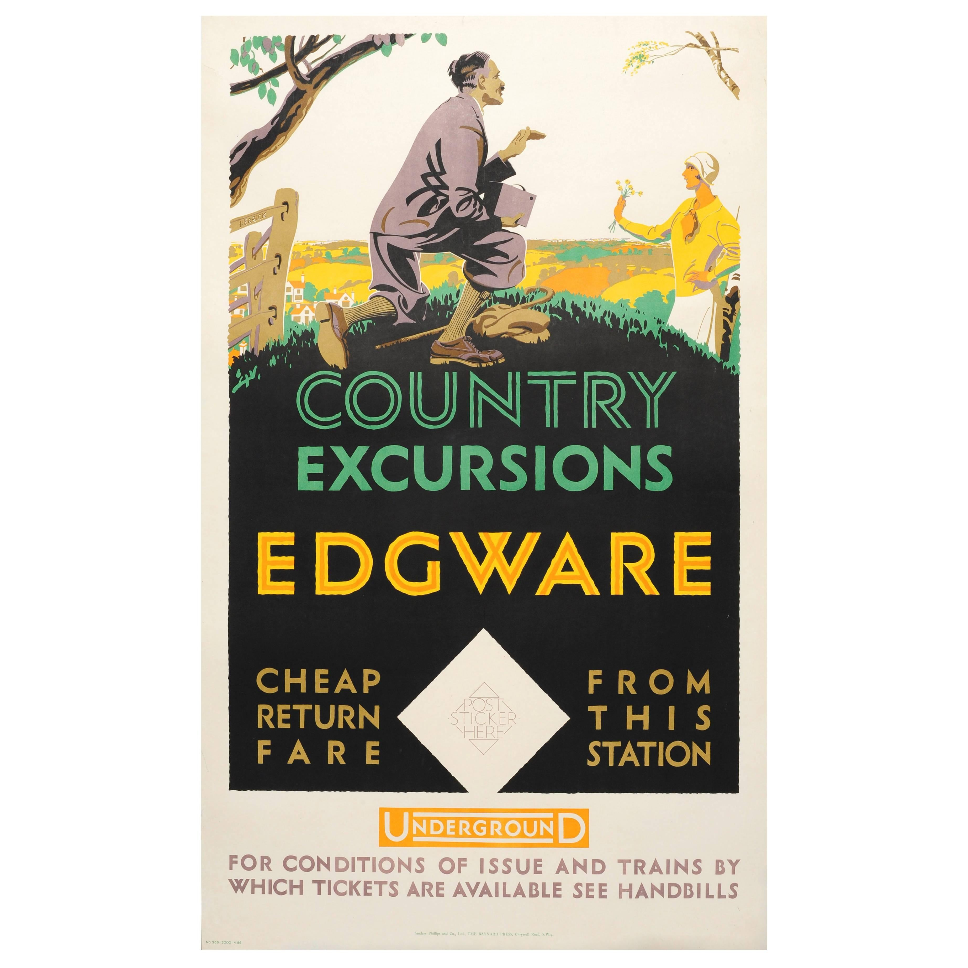 Original Vintage 1926 London Underground Poster for Country Excursions Edgware