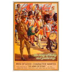 """Original 1926 Military Army Recruitment Poster """"Men of Good Character Wanted"""""""