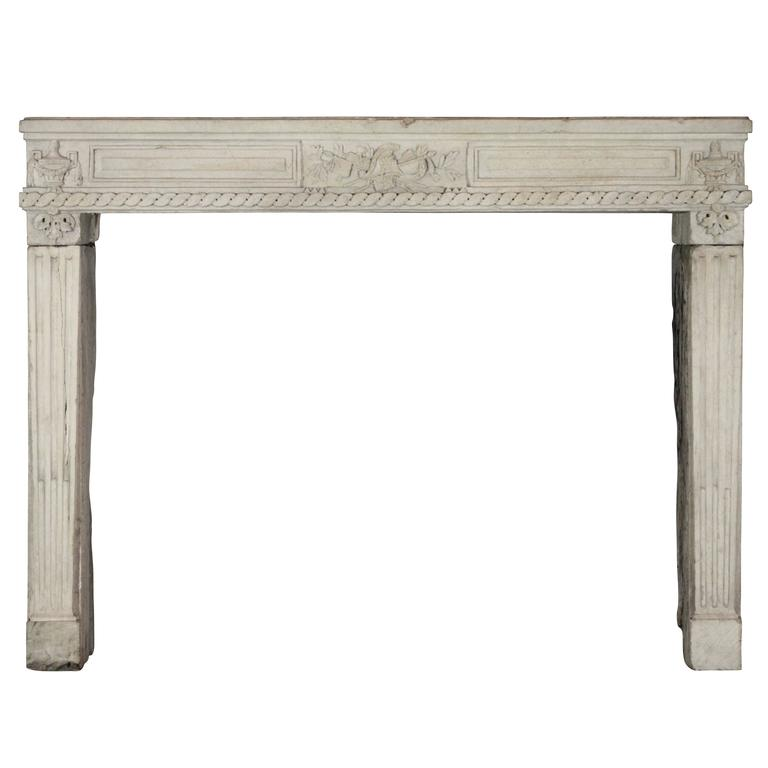 Rare 18th Century French Limestone Original Antique Fireplace Surround