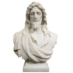 19th Century Marble Bust of Jesus Christ