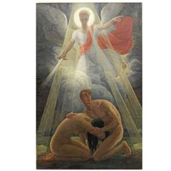 """Departure from Eden,"" Masterful Art Deco Painting with Nudes, 1930"