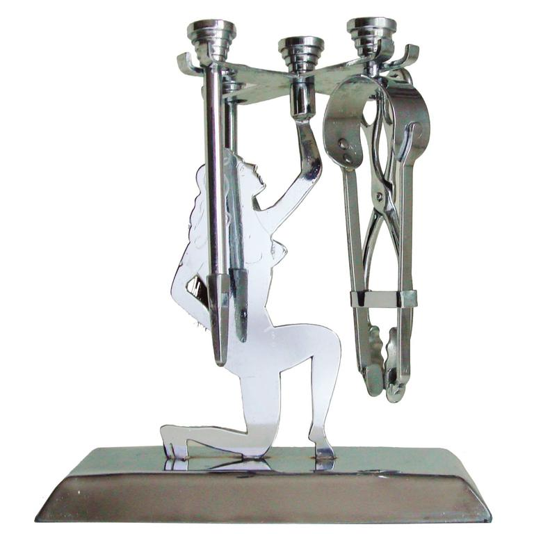 English Art Deco Chrome-Plated Trench Art Five-Piece Figural Small Fire-Tool Set